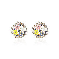Light pink diamante flower stud earrings