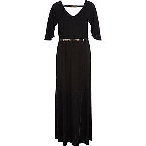 Black cape sleeve maxi dress
