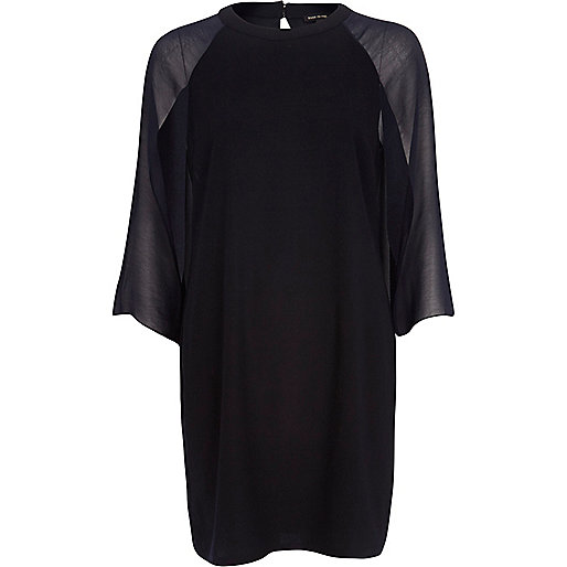 Navy chiffon cape sleeve shift dress