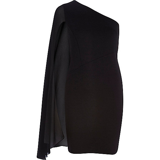 Black one shoulder cape sleeve dress