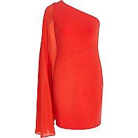 Red one shoulder cape sleeve dress