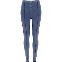 Dark blue denim-look high waisted leggings