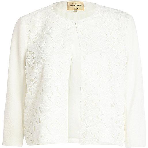 White lace front jacket