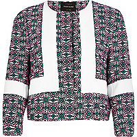 Pink tile print colour block jacket