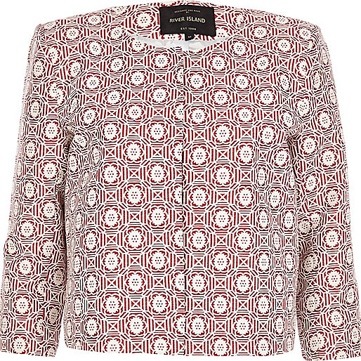 Red floral tile print boxy cropped jacket