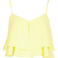 Yellow double layer crop cami top