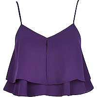 Purple double layer cami crop top