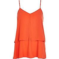 Orange double layer longline cami top