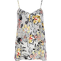 Grey floral double layer longline cami top