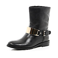 Black leather gold trim ankle boots