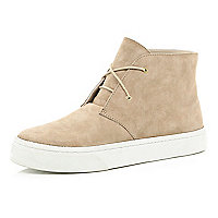 Beige suede desert boots