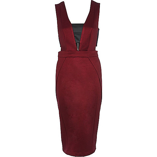 Dark red contrast panel cut out pencil dress