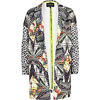 Lime mixed print oversized jacket
