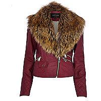 Dark pink faux fur collar biker jacket