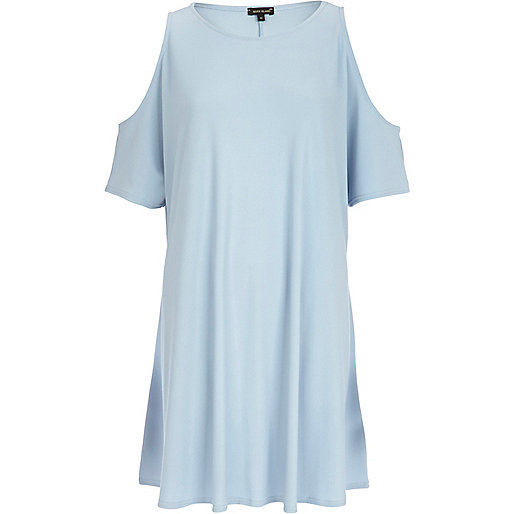 Light blue cold shoulder t-shirt dress