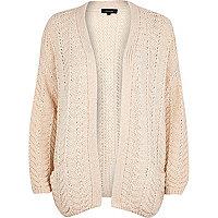 Cream chunky zig zag knit cardigan