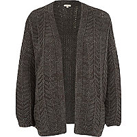 Dark grey chunky zig zag knit cardigan