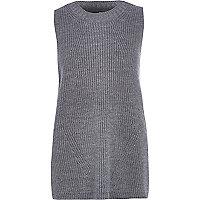 Grey rib knit sleeveless tunic