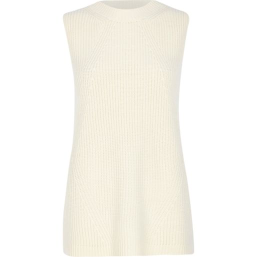 White rib knit sleeveless tunic