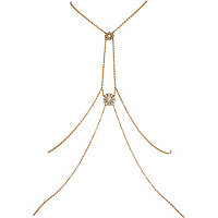 Gold tone Deco pendant body harness
