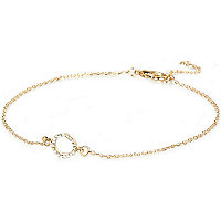 Gold tone diamante circle anklet