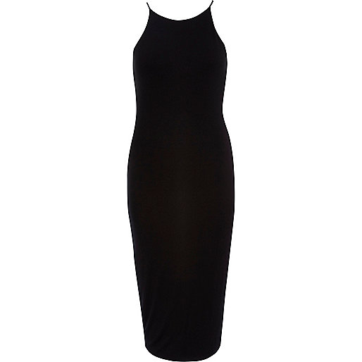 Black racer front bodycon midi dress