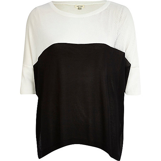 Black and white colour block t-shirt