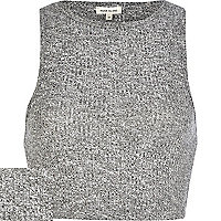 Grey marl rib fitted crop top