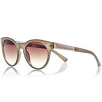 Khaki round metal arm sunglasses