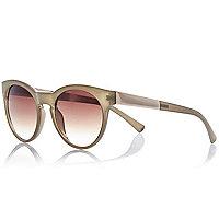 Khaki round metal arm round sunglasses