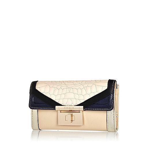 Cream croc quilted colour block purse