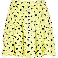 Yellow Chelsea Girl heart print skirt