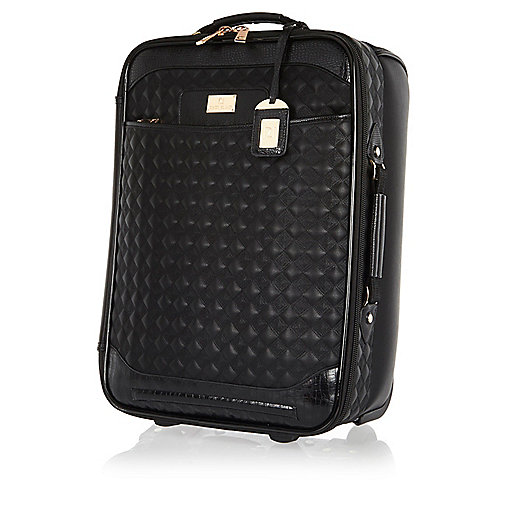 Black quilted wheelie suitcase