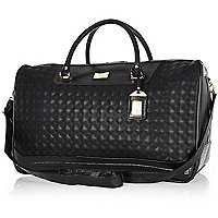 Black square quilted weekend bag
