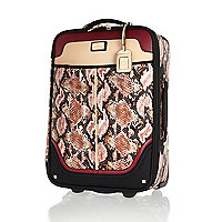 Red snake print wheelie suitcase