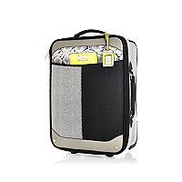 Black colour block wheelie suitcase