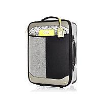 Black colour block wheelie suitcase