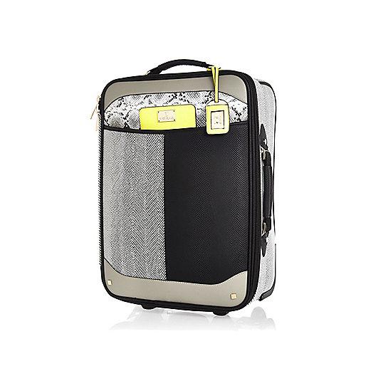 http://www.riverisland.com/women/bags--purses/make-up-bags--luggage/Black-colour-block-wheelie-suitcase-657297