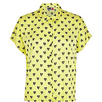 Yellow Chelsea Girl heart print shirt