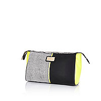 Black colour block make up bag