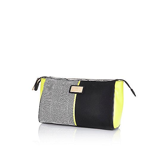 Black colour block make up bag