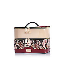 Dark red snake vanity case