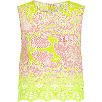 Light pink and lime snake print shell top