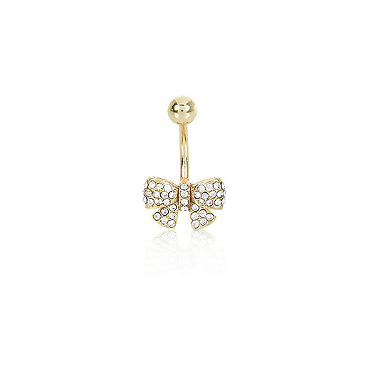 Gold tone diamante bow belly bar