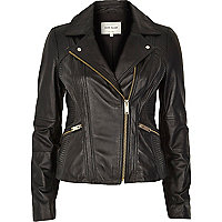 Black quilted panel leather biker jacket