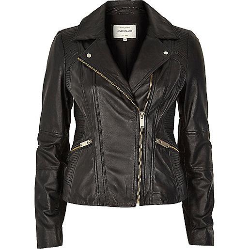 Black quilted panel leather biker jacket