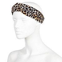 Brown leopard print turban-style headband