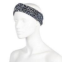 Blue leopard print turban-style headband