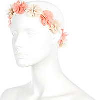 Light pink flower hair garland