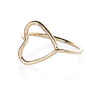 Gold tone heart midi ring